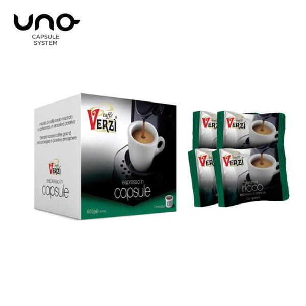 Confezione da 300 capsule unosystem aroma ricco Caffe verzì