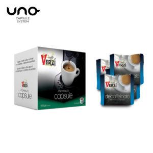 Confezione da 300 o 400 capsule unosystem decaffeinato Caffe verzì