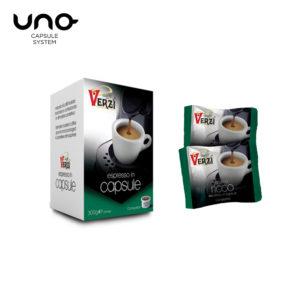 Confezione da 50 capsule unosystem aroma ricco Caffe verzì
